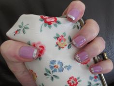 Lilac and silver manicure with Cath Kidson purse