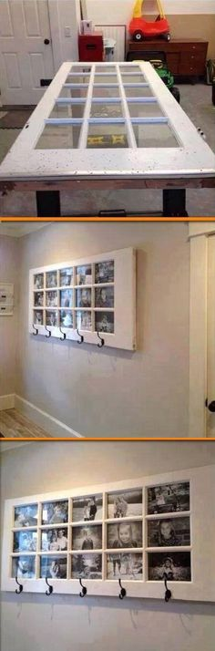 Old door, family photos and coat hook come together to create a work of art perfect for a entryway or living room!