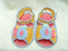 Princess Fish Sandals - thread crocheted sandals for a 3 to 6 month old  $18