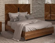 2ddfdccc4372 ESF Flavia Glossy Walnut Finish Queen Bedroom Set 3Pcs Made in Italy  Contemporary