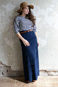 Jade Mackenzie Modest Apparel - Isabella Navy Boxed Layered Skirt