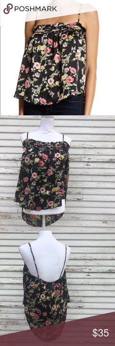 H.I.P. Floral satin camisole NWT. Questions and offers welcome! h.i.p. Tops Camisoles