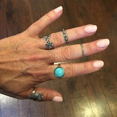Boho Silver / Turquoise 4 Ring Set Darling Bohemian Silver & Turquoise 4 ring set. Perfect for layering. Get that Free People/Child of Wild Look. Sizes are from the pinky to the index finger in the 1st photo: 3.5, 6.5, 3.75, 6.5 Free People Jewelry Rings