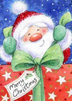 ♥ Wild Rose Studio ♥ Santa opening a Christmas gift