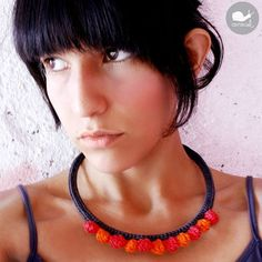 The Dinkdots Necklace $28.00 - by caracolhandmade - Crochet Collars & Textile Jewelry via Etsy