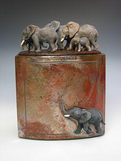 by Zsuzsa Monostory Ceramic Boxes, Ceramic Jars, Glass Ceramic, Ceramic Clay, Elephant Love, Elephant Art, Elephant Stuff, Animal Sculptures, Ceramic Sculptures