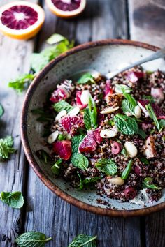 Moroccan Quinoa with Blood Oranges, Olives, Almonds and Mint