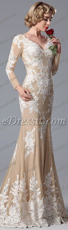 eDressit Long Sleeves V Cut Lace Applique Mermaid Evening Gown Formal Dress