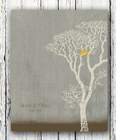 Personalized Wedding Gift, Family Tree Art, Love Birds in Tree with Carved Initials and Names Wedding Date, 8x10 Print