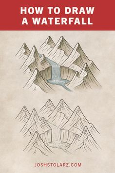 How to Draw a Waterfall On a Map : Waterfalls are always considered a feature of a landscape, and something that is worth traveling just to see. So if you want to draw maps that people find interesting and tell a story, then waterfalls are a great element Landscape Drawing Tutorial, Landscape Drawings, Art Drawings, Drawing Faces, Fantasy Map Making, Fantasy World Map, Map Sketch, Sketches, Rpg Map