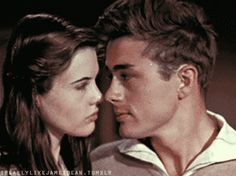 James Dean and Lois Smith in a screen test test for 'East of Eden', 1954-55. (gif)