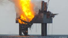 Another Rig Fire in the Gulf, Another Wakeup Call ...    Coast Guard Photo: Hercules 265 Natural Gas Rig on Fire