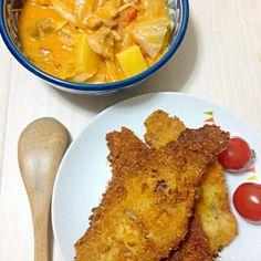 最近サボってましたー>_< 彼氏に作ってあげたこの前の晩ご飯(o^^o) - 1件のもぐもぐ - トマトクリームスープとチーズカツレツ by nancha