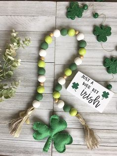 Excited to share this item from my shop: Green St Patrick's Day Farmhouse Garland, Wooden Bead Garland Wood Bead Garland, Diy Garland, Beaded Garland, Christmas Bead Garland, Garland Ideas, Easter Garland, Prim Christmas, Beaded Ornaments, Christmas Cards