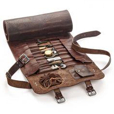 Leder Werkzeugrolle - draw string bag incorporation