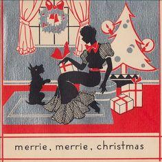 Scottie can't wait until Christmas! ~ 1930s card