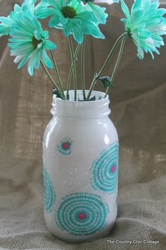 Decorating Jars Five Ways with @plaidcrafts #walmartplaid ~ * THE COUNTRY CHIC COTTAGE (DIY, Home Decor, Crafts, Farmhouse)  Use fabric, modge podge & paint..easy peasy!