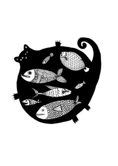an original serigraphy of one of my original ink drawing size printed on a nice acid free watercolor paper will be signed,titled Illustration Inspiration, Art Et Illustration, Fish Art, Art Design, Graphic Design, Design Elements, Crazy Cats, Cat Art, Oeuvre D'art