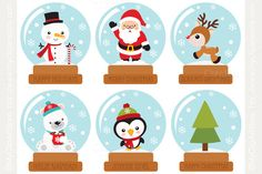 Clipart - Christmas Snow Globes by MyClipArtStore on Creative Market
