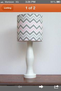 Pink grey chevron lamp