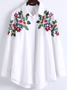 White Floral Embroidery High Low Blouse -SheIn(abaday)