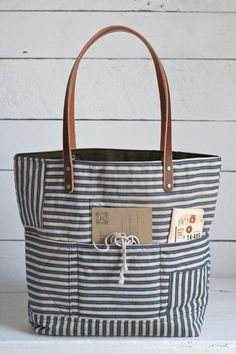 1940s era Ticking Fabric Tote Bag