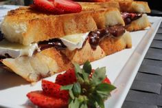Grilled Strawberry,chocolate and brie sandwich on the Island Grillstone