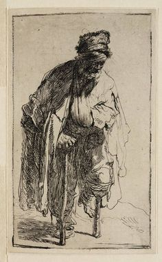 Beggar with a Wooden Leg Rembrandt (Rembrandt van Rijn) (Dutch, Leiden Amsterdam) Date: ca. 1630 Medium: Etching Classification: Prints Credit Line: Gift of Felix M. Warburg and his family, The Morgan Library & Museum Rembrandt Etchings, Rembrandt Drawings, Rembrandt Art, Rembrandt Paintings, Life Drawing, Painting & Drawing, Leg Painting, A4 Poster, Poster Prints