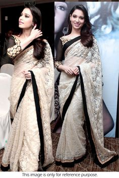 Bollywood Style Tamanna Bhatia Chiken Net Saree In Off white and Black Colour…