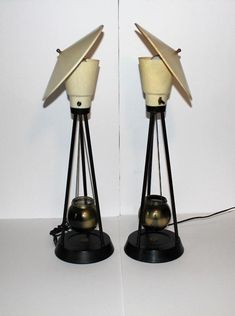 Mid Century Modern Fiberglass Tilted Flying Saucer Asian Atomic Cone Table Lamps