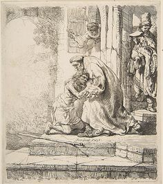 Return of the Prodigal Son by Rembrandt Harmenszoon van Rijn, European Art available at J-Art Gallery. Rembrandt Etchings, Rembrandt Drawings, Rembrandt Art, Harvard Art Museum, Francisco Goya, Prodigal Son, Biblical Art, Dutch Golden Age, Dutch Painters
