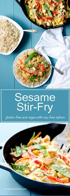 Gluten-free and vegan stir-fry with soy-free option.