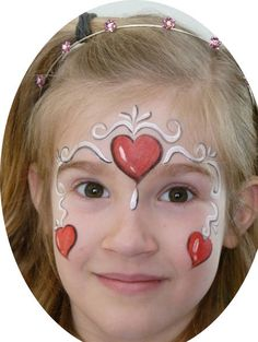 Face painting for kids: hearts by vickie Mime Face Paint, Girl Face Painting, Face Paint Makeup, Face Painting Designs, Painting For Kids, Face Paintings, Easter Face Paint, Extreme Makeup, Heart Face