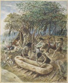 Alan Sorrell - A Mesolithic Period Encampment Prehistoric Man, Prehistoric Animals, Panthera Leo Spelaea, Oriental People, Early Humans, Indigenous Tribes, Primitive Survival, Free Museums, London Museums