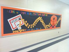 NBA BULLETIN BOARD THEME FOR MIDDLE GRADES... (Never been absent)  1. Hoop 2. Mascot 3. Basketballs with the students names