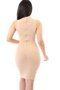 Love Language Sleeveless Zipper Back Midi Dress - Khaki