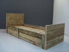 1-persoonsbed van sloophout (128090200KSL)   1-persoonsbedden   JORG`S Houten Meubelen