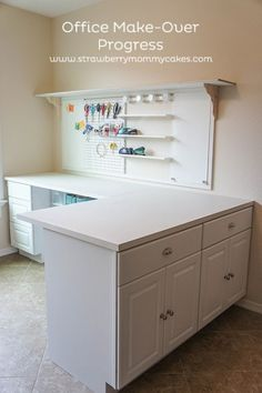 Office Make-Over Progress – Printable Crush Our space is too small now but this would be a great craft room layout later. Office Make-Over Progress on www.strawberrymom… Creating useful and comfy room. Craft Room Storage, Sewing Room Organization, Craft Rooms, Organizing Ideas, Basement Storage, Office Organization, Kitchen Storage, Craft Room Desk, Sewing Nook