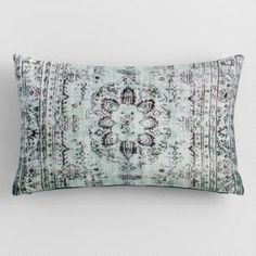Antiqued rugs inspired the ornate design on this printed lumbar pillow. Brought to you from India, it's made of luxe velvet in cool tones with an icy teal back. Large Pillows, Kids Pillows, Throw Cushions, Decorative Throw Pillows, Best Pillow, Affordable Home Decor, Pillow Sale, Lumbar Pillow, Velvet