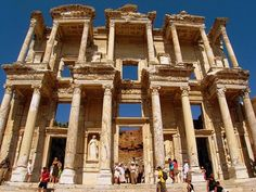 Celsius Library in Turkey - Great Roman architecture.. The library of Celsus is an ancient Roman building in Ephesus, Anatolia, now part of Selçuk, Turkey. It was built in honour of the Roman Senator Tiberius Julius Celsus Polemaeanus