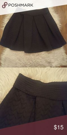 Black Quilted Skirt Barely worn black circle skirt with pleats and a stretchy waistband. Xhilaration Skirts Circle & Skater