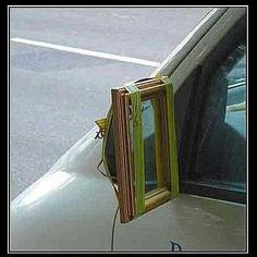 Redneck side mirrors.. Great idea for Pearl...lol