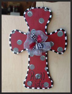 Alabama/Auburn cross door hanger wooden by Furnitureflipalabama Painted Wooden Crosses, Wood Crosses, Wooden Art, Wooden Decor, Wooden Letters, Mosaic Crosses, Alabama Crafts, Alabama Wreaths, Cross Door Hangers