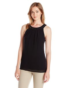 Calvin Klein Women's Chiffon Halter Top with Ring Detail * This is an Amazon Affiliate link. More info could be found at the image url.