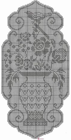 Kira scheme crochet: A vase of flowers and birds Crochet Patterns Filet, Crochet Motif, Crochet Doilies, Crochet Lace, Free Crochet, Crochet Table Runner, Crochet Tablecloth, Fillet Crochet, Crochet Birds