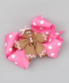 Pink Polka Dot Bow & Gingerbread Clip