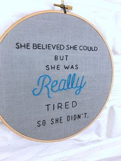Modern Hand Embroidery She Believed She Could Embroidered Gift Under 50 Sarcastic Joke Hand Stitched Wall Art inch Hoop Art Embroidery Stitches Tutorial, Hand Embroidery Patterns, Embroidery Techniques, Knitting Stitches, Embroidery Kits, Ribbon Embroidery, Cross Stitching, Cross Stitch Embroidery, Cross Stitch Patterns