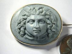 Super Antique 14k Gold Lava Cameo Pin Medusa WOW C1820 | eBay