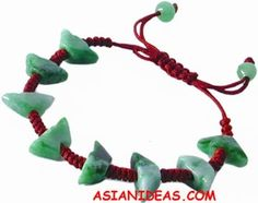 Today's feature product: Chinese Ingots Indian Jade Bracelets  Jadeite, also known as Indian jade, is a semi-precious stone believed to promote success, prosperity and luck in Asian cultures. They are treasured items, to be passed from generation to generation. These jade bracelets feature vibrant green beads, carved into beautiful charms.Unisex. Jade varies in tone and color naturally. Available in four charms.  http://www.asianideas.com/injadbrac1.html
