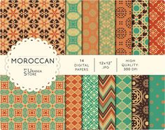 Moroccan digital paper: mint ocher orange and teal by UraniaStore